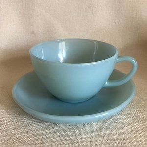 Fire King Turquoise Robins Egg Blue Cup & Saucer